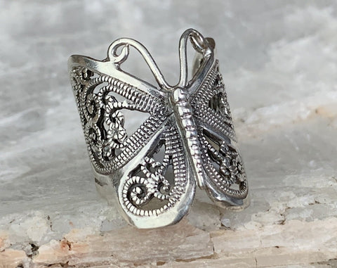 Sterling Butterfly Ring, Multiple Sizes