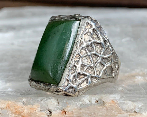 Sterling Nephrite Jade Ring, Size 9.5