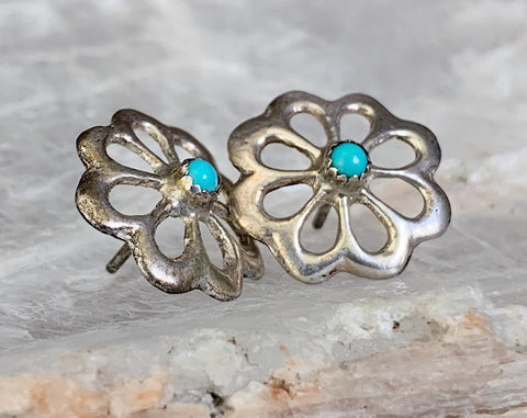 Sandcast Sterling Turquoise Post Earrings