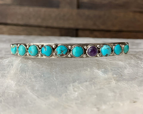 Sterling Turquoise Amethyst Snake Eyes Cuff