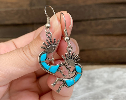 Sterling Turquoise Kokopelli Earrings