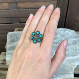 Zuni Turquoise Flower Ring, Size 6.25