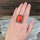 Sterling & 18k Gold Apple Coral Ring by Julie Shaw, Size 6.25