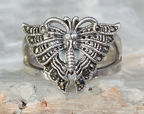 Sterling Marcasite Moth Ring, Multiple Sizes