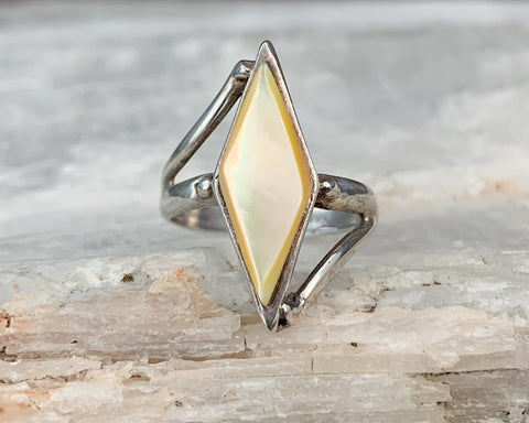 Sterling Mother of Pearl Ring, Size 4.5