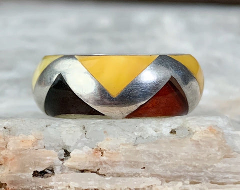Sterling Two Tone Amber Inlay Ring, Size 6