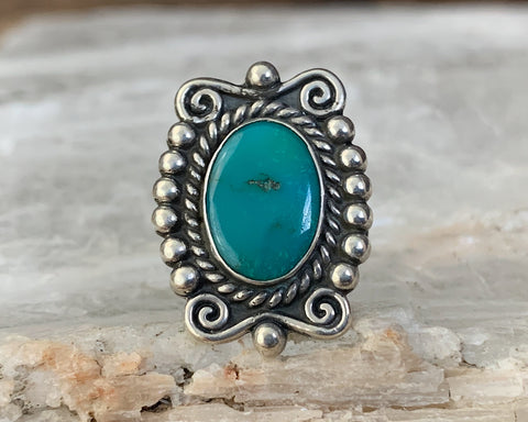Sterling Fred Harvey Era Turquoise Ring, Size 6