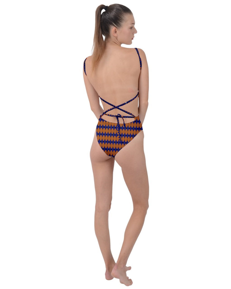 Ankara Tie Strap One Piece Swimsuit