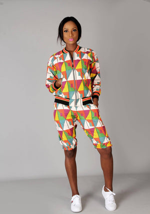 Multi coloured African ankara bomber jacket set