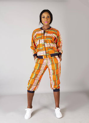 Orange multi coloured African ankara bomber jacket set