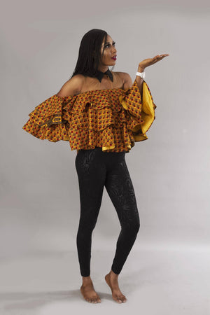 Load image into Gallery viewer, Mustard yellow African ankara layered top
