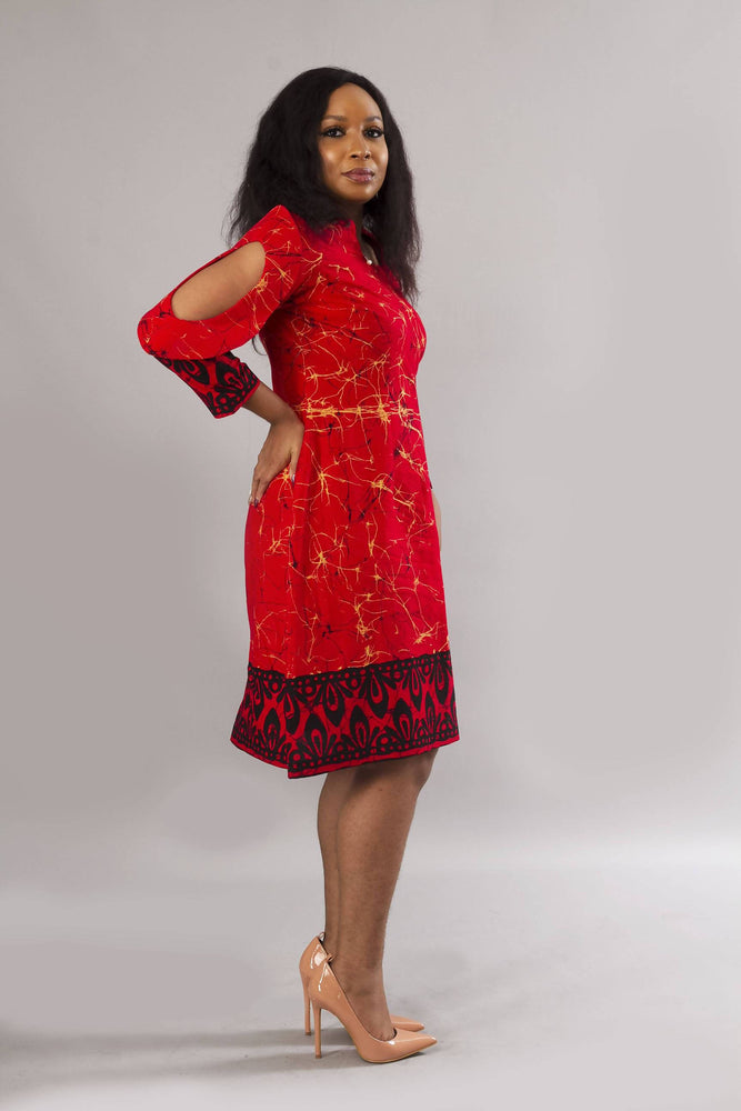 Red African print ankara shift dress