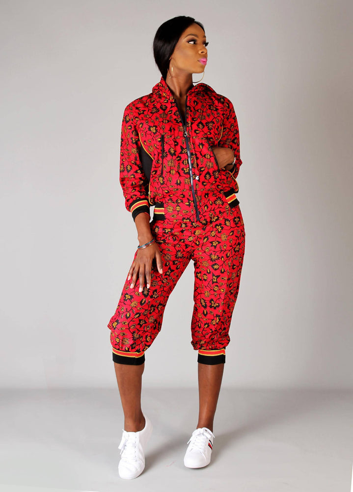 Red black multi coloured African ankara hoodie set