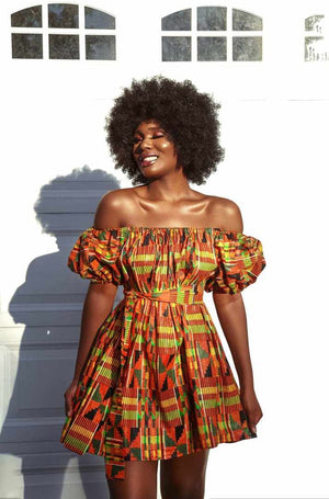 Load image into Gallery viewer, Hilwa Kente Dress