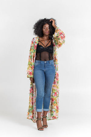 Load image into Gallery viewer, Maxi Duster Floral Kimono Karma