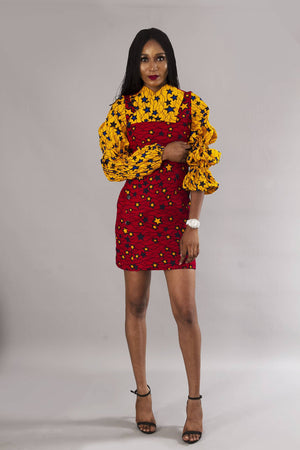 Red two tone African ankara wrap dress