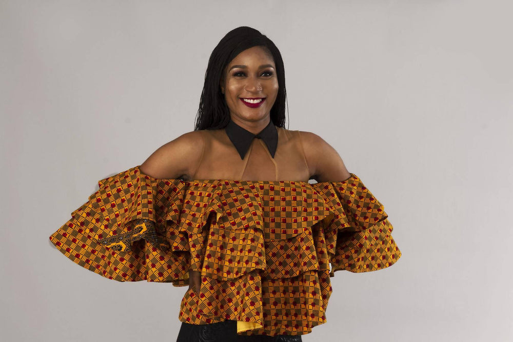Mustard yellow African ankara layered top