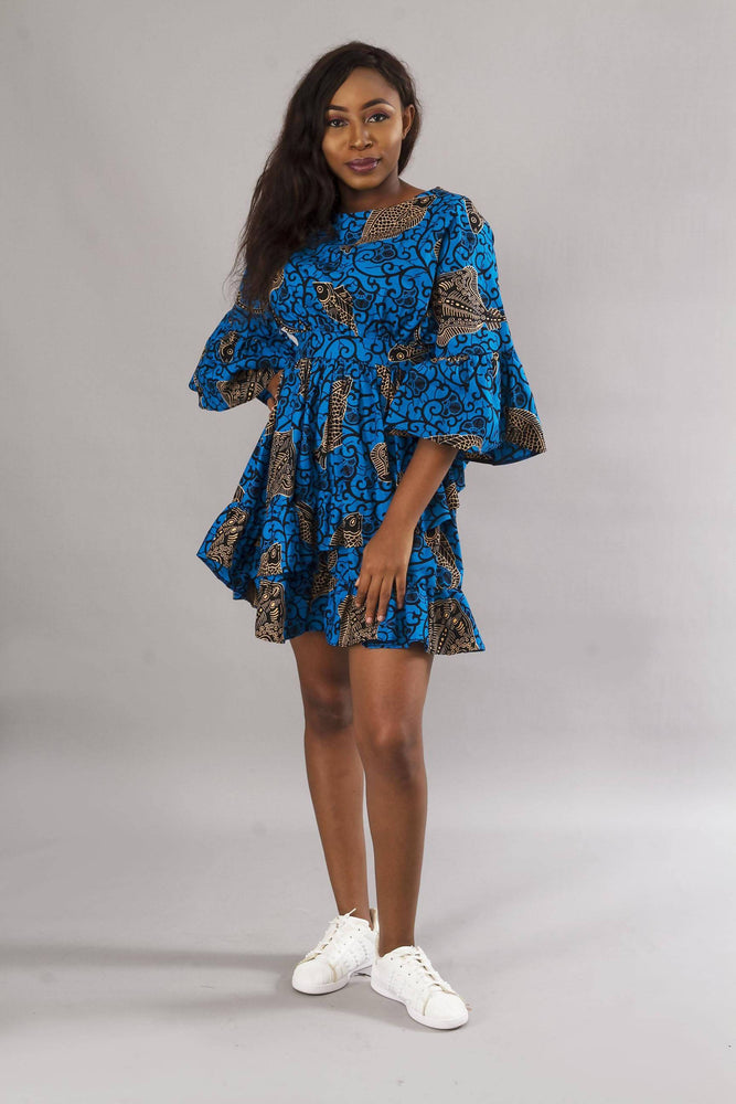 Load image into Gallery viewer, Blue Ankara Print Short Party Dress