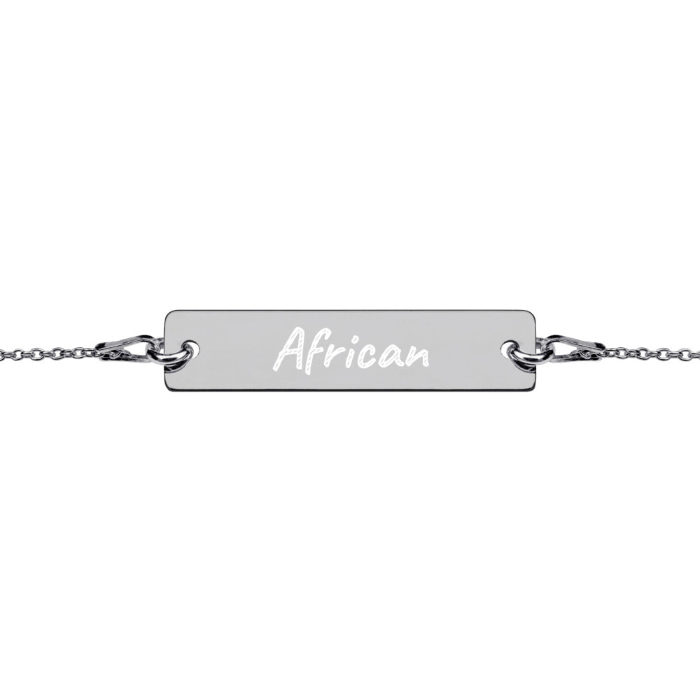 'African' Engraved Silver Bar Chain Bracelet