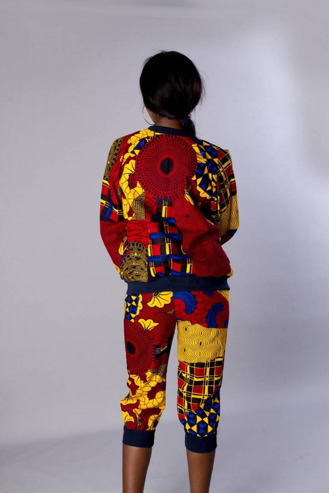 Red multi coloured African ankara bomber jacket set