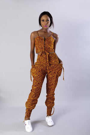 Load image into Gallery viewer, Mustard yellow African ankara 2-piece set