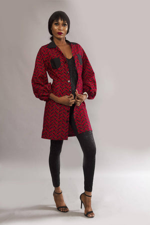 Load image into Gallery viewer, Red long sleeved African ankara kimono jacket