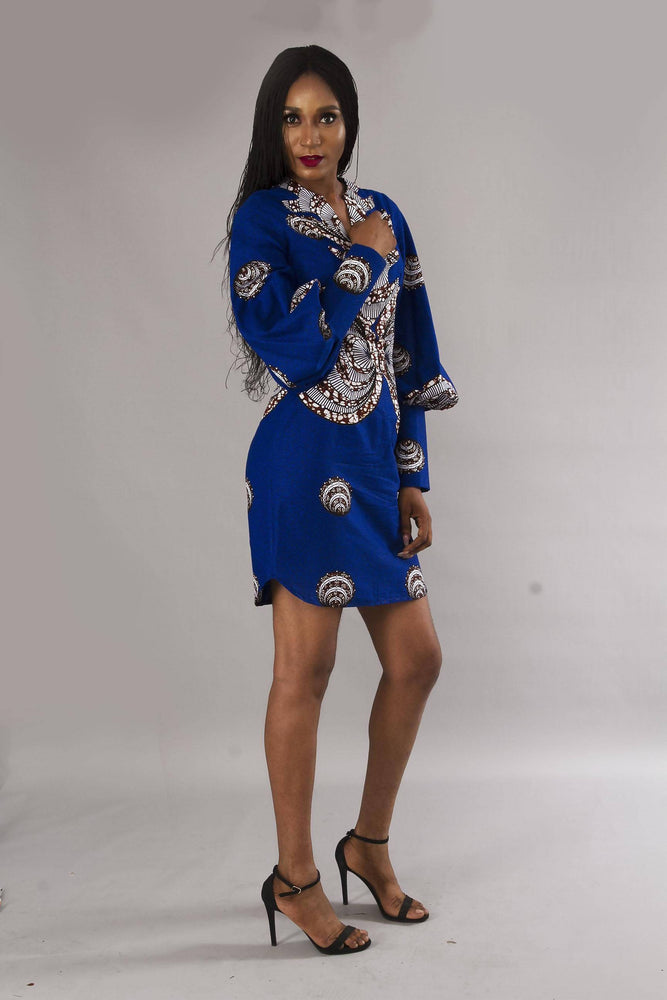 Blue bishop sleeves shift dress