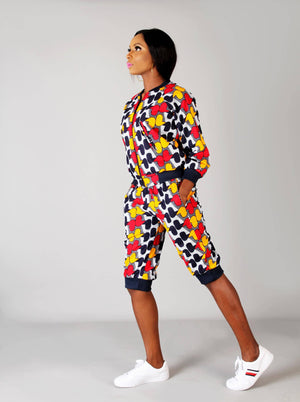 Load image into Gallery viewer, White blue multi coloured African ankara bomber jacket set