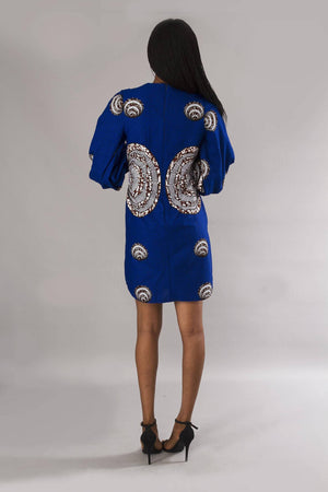 Load image into Gallery viewer, Blue bishop sleeves shift dress