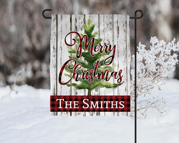 Merry Christmas Personalized Garden Flag