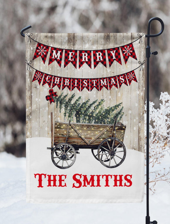 Merry Christmas Wagon Personalized Garden Flag