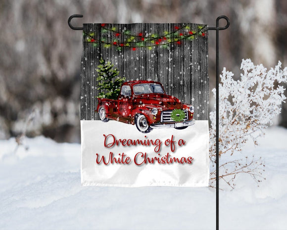 Dreaming of a White Christmas Garden Flag