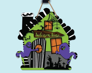 Haunted House - Green & Purple