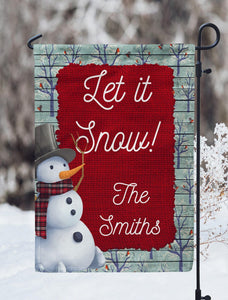 Let It Snow Personalized Garden Flag