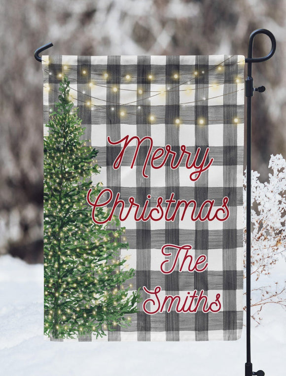 Buffalo Plaid Merry Christmas Personalized Garden Flag