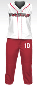 Raiders White w/ Red Pinstripe Full Softball Uniform