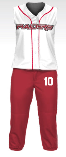 Raiders Red Knicker Softball Pants w/ Number