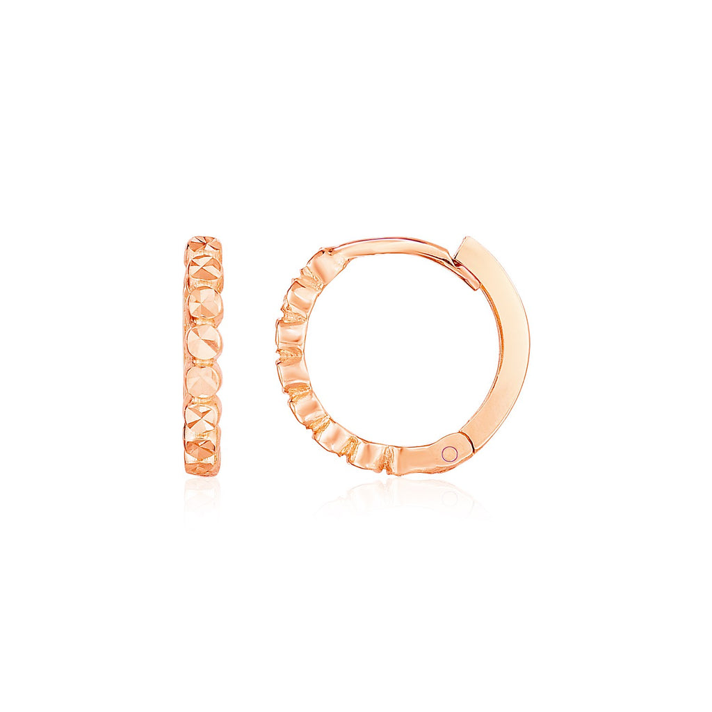 14k Rose Gold Petite Textured Round Hoop Earrings