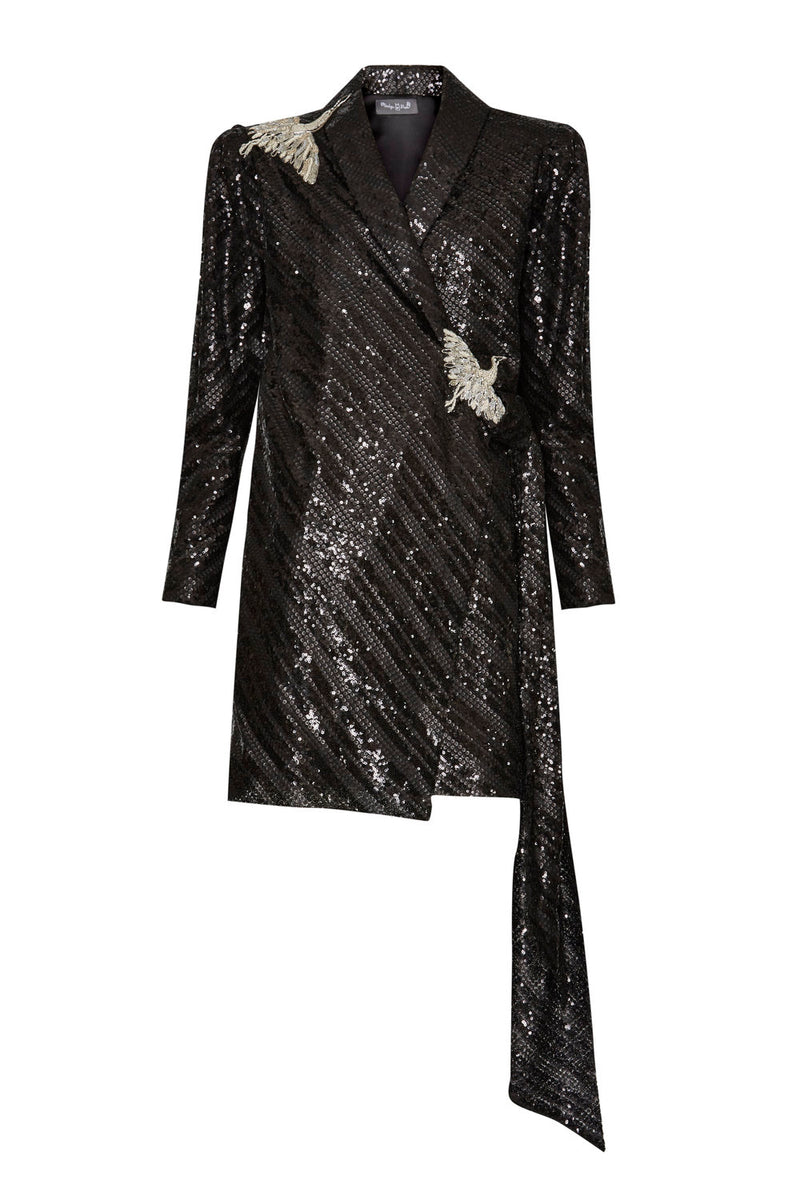 Mara Black Sequin Dress