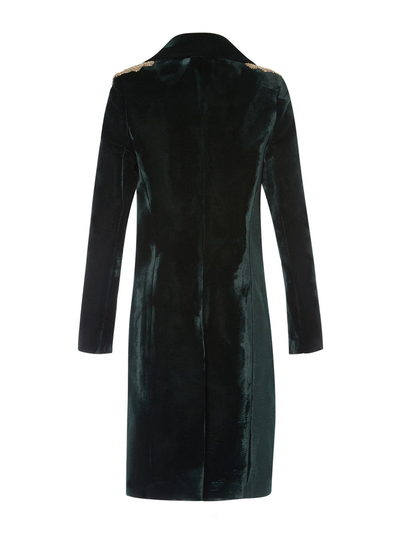 Rae Velvet Hunting Green Overcoat