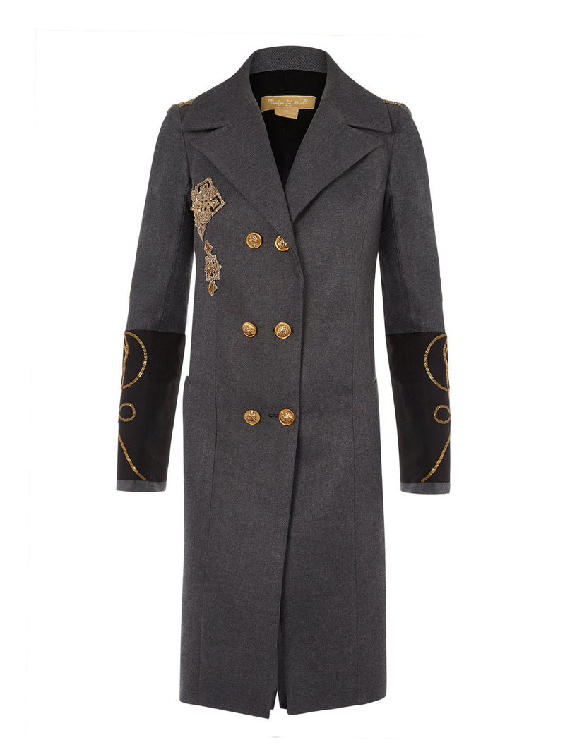 Rae Grey/Gilt Detail Overcoat