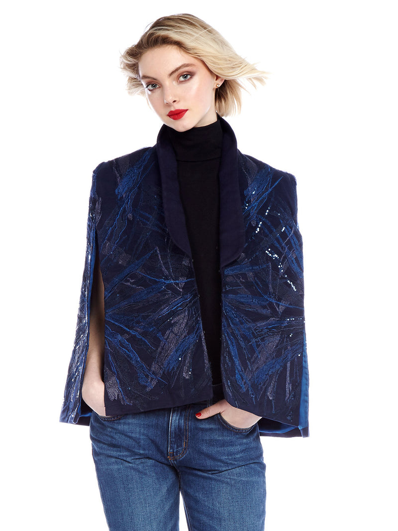 Dita Blue Sequin Cape