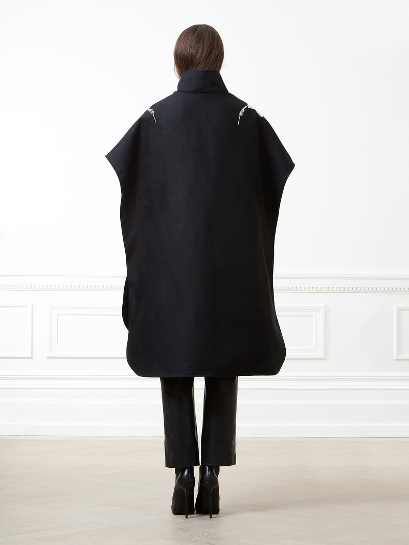 Sava Black Leaf Detail Poncho