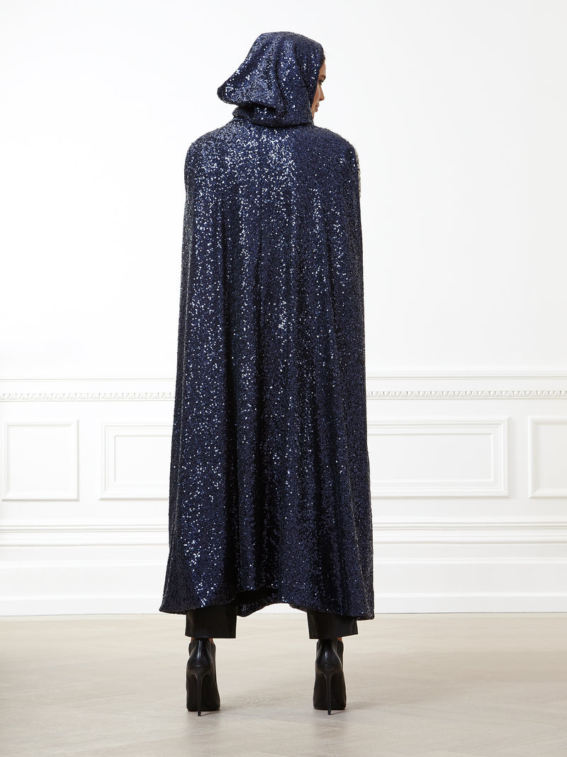 Amir Hooded Sequin Cape