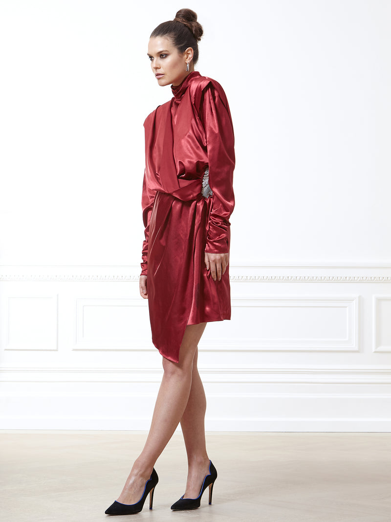 Celestine Silk Satin Burgundy Dress