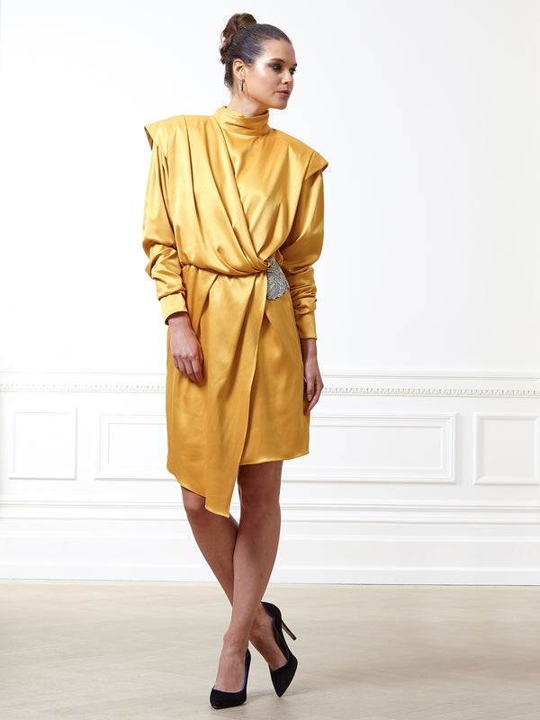 Celestine Silk Satin Canary Yellow Dress