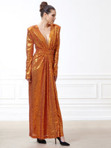 Grace Tangerine Sequined Dress