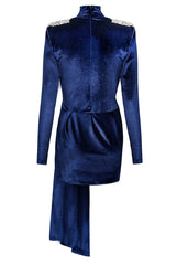 Zoe Cobalt Blue Short Velvet Dress