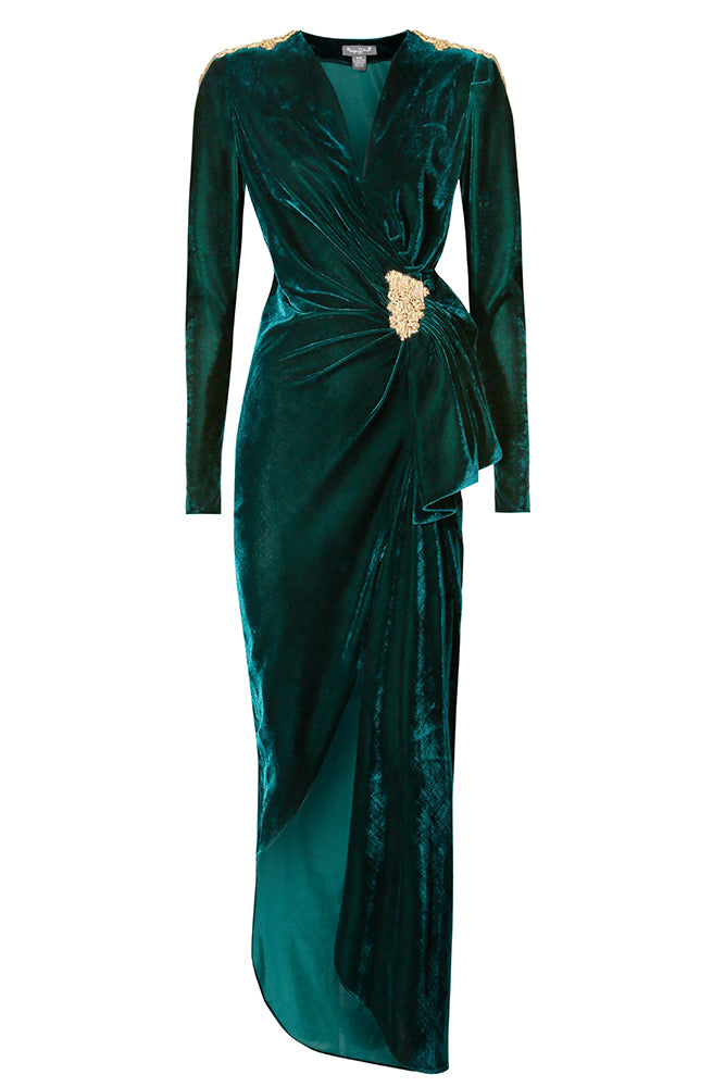 Camille Emerald Green Ruched Dress