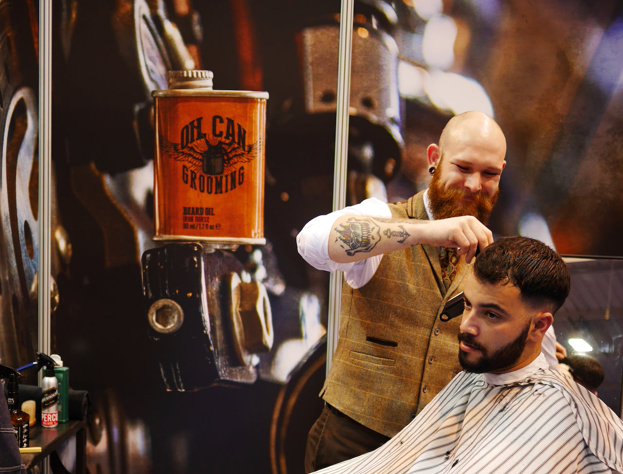 Oil Can Grooming Barber Connect Trade Show Pauly Harmer